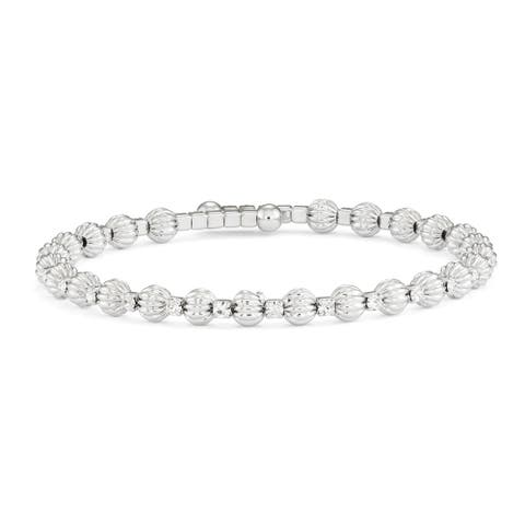 Forever Last 14kt Gold Brass Plated Rhodium Round Bead 3mm Dimond cut spiral Wire Bangle Stations Crystal