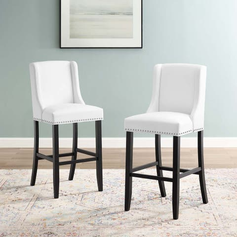 Baron Bar Stool Faux Leather Set of 2