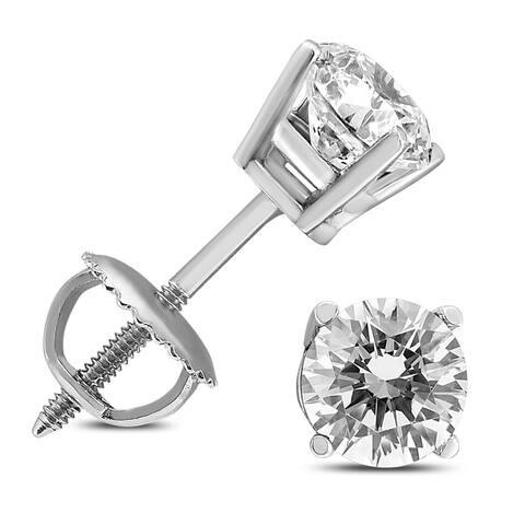 3/8 Carat TW Diamond Screw Back Studs in 14K White Gold