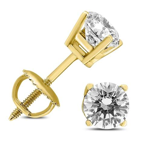 1/2 Carat TW Diamond Studs Screw Back Earrings in 14K Yellow Gold