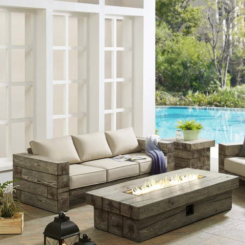 Manteo Rustic Coastal Outdoor Patio Sofa Set with Fire Pit Table