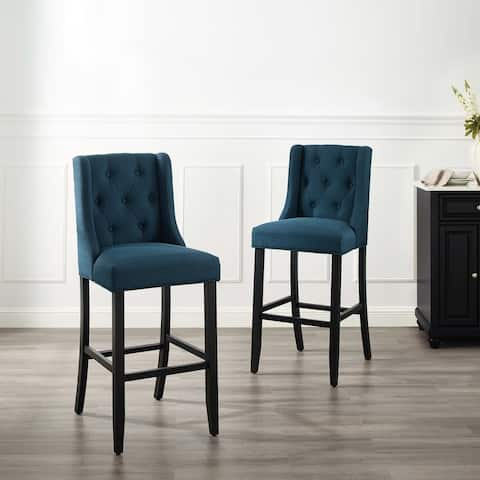 Baronet Bar Stool Upholstered Fabric Set of 2 - N/A