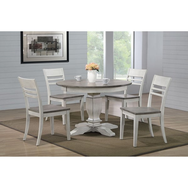 """Iconic Furniture Co 45""""x45""""x63"""" Transitional Ash & Stormy White (5-Piece Dining Set)"""