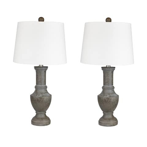 """26.25"""" Acid Griffin Poly Resin Table Lamp Set of 2 W/ Brushed Nickel Finish"""