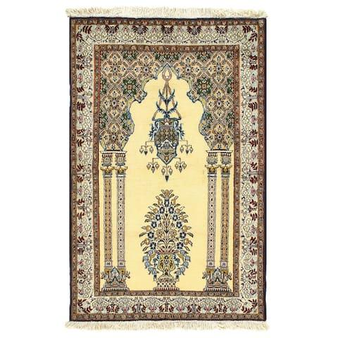 Pasargad DC Ivory Persian Wool & Silk Qum - 3' x 5'