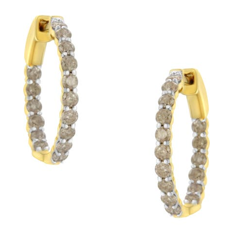 10K Yellow Gold Plated Sterling Silver 2ct TDW Diamond Hoop Earrings (K-L, I2-I3)