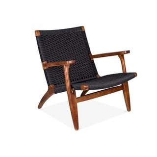 Link to Comfortable Lounge Chair made of Solid Ash Wood with Rattan Weave black colour Similar Items in Accent Chairs