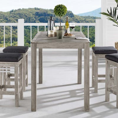 """Wiscasset 59"""" Outdoor Patio Acacia Wood Bar Table"""