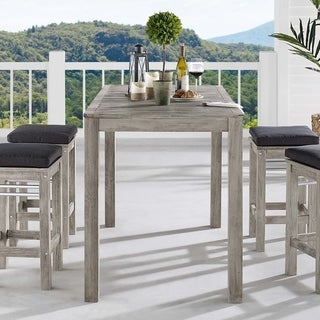 "Link to Wiscasset 59"" Outdoor Patio Acacia Wood Bar Table Similar Items in Patio Dining Chairs"