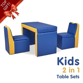 Kitness Kids Sofa, 2-in-1 Multi-Functional Kids Table & Chair Set, Toddler Armchair 2 Seat Couch w/ Storage Box-Xmas Gift