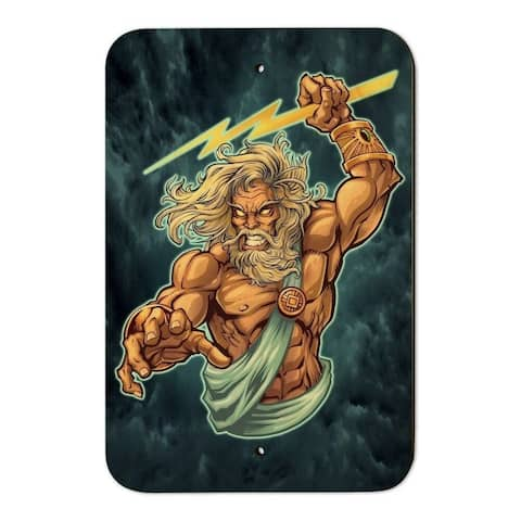 """Zeus Greek God Mythology Wood Sign 6"""" x 9"""""""