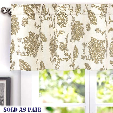 Gracewood Hollow Kapil Floral Blackout Lined Thermal Insulated Window Valance Pair