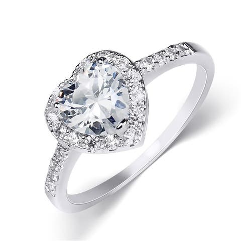 2 Carat Heart Shape Sterling Silver Cubic Zirconia Engagement Ring