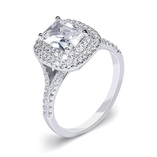 Link to 2 Carat Double Halo Bridal Ring Emerald Cut Genuine Sterling Silver Similar Items in Rings