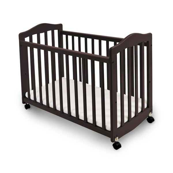 Slatted Wooden Bedside Manor with Casters, Cherry Brown and Black
