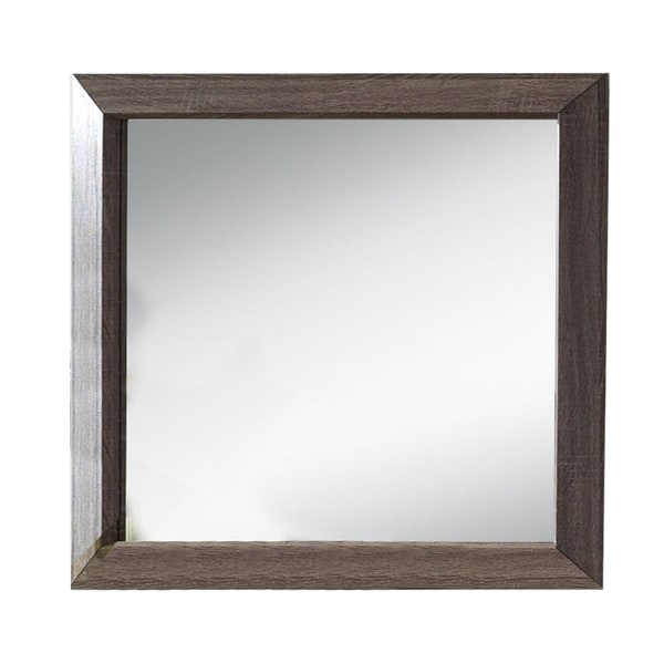 Wooden Clean Lines Framed Mirror with Rectangular Shape,Weathered Gray