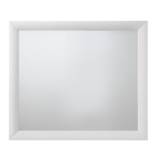 Wooden Framed Mirror with Rectangular Shape, Silver and White