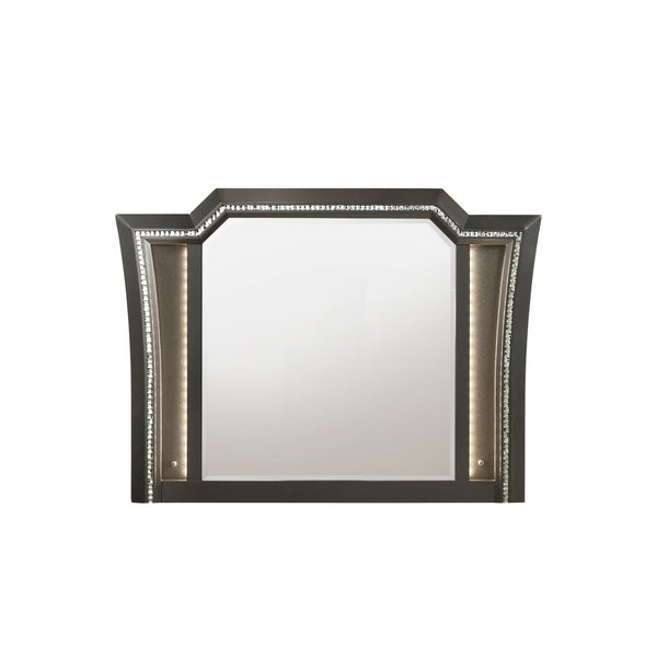 Contemporary Style Wooden Decorative Mirror with LED Lights, Gray