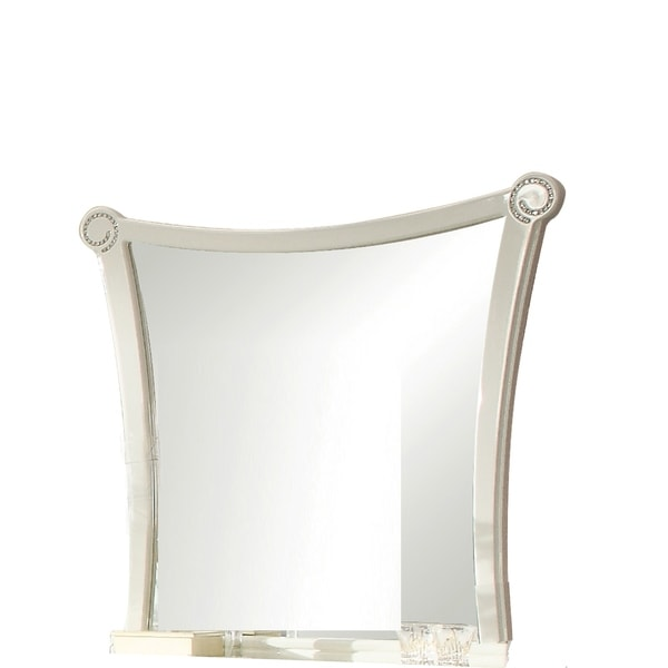 Crystal Inlay Wooden Frame Mirror with Concave Sides, White and Silver