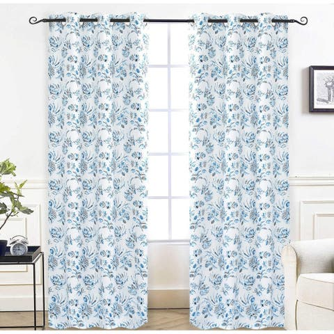 DriftAway Claire Watercolor Floral Leaves Room Darkening Window Curtain Grommet 2 Panels - 52'' width x 84'' length