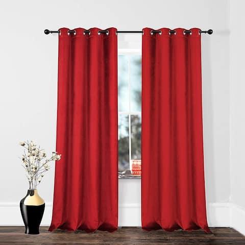 DriftAway Cotton Velvet Blackout Lined Thermal Insulated Curtain Grommet Single Panel