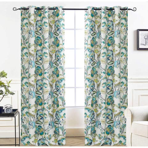DriftAway Layla Classic America Style Floral Leaves Window Curtain Grommet 2 Panels - 52'' width x 84'' length