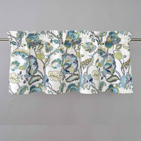 DriftAway Layla Classic America Style Floral Leaves Room Darkening Window Curtain Valance Rod Pocket Single