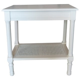 Copper Grove Reine Cream Side Table with Rattan Shelf