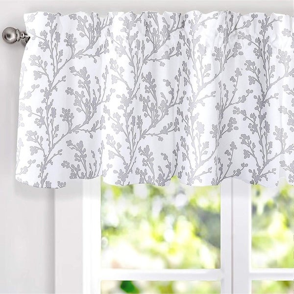 DriftAway Sarah Floral Tree Branch Pattern Blackout Window Curtain Valance - 52'' width x 18'' length - 52'' width x 18'' length. Opens flyout.