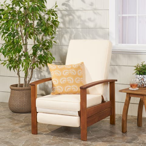 Rosy Outdoor Acacia Wood Push Back Recliner by Christopher Knight Home