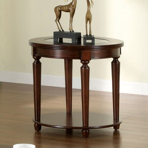 Furniture of America Nill Transitional Cherry Solid Wood End Table