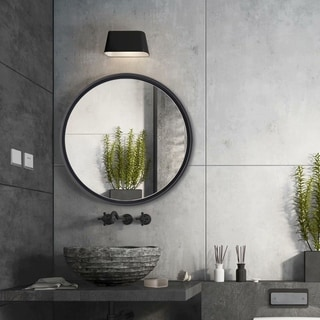 Modern Simple Round Wall-Mounted Bathroom Vanity Hanging Mirror - 23.7''x23.7''x2.1''