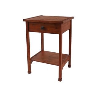 Rustic Wooden End Table with 1 Drawer and 1 Bottom shelf, Brown