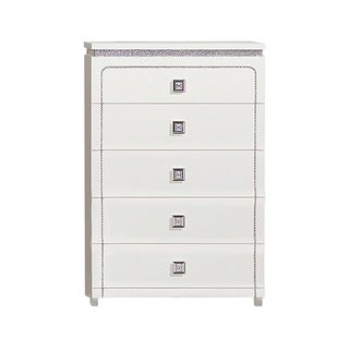 Contemporary Wooden Chest with Crystal Like Inlay and 5 Drawers, White