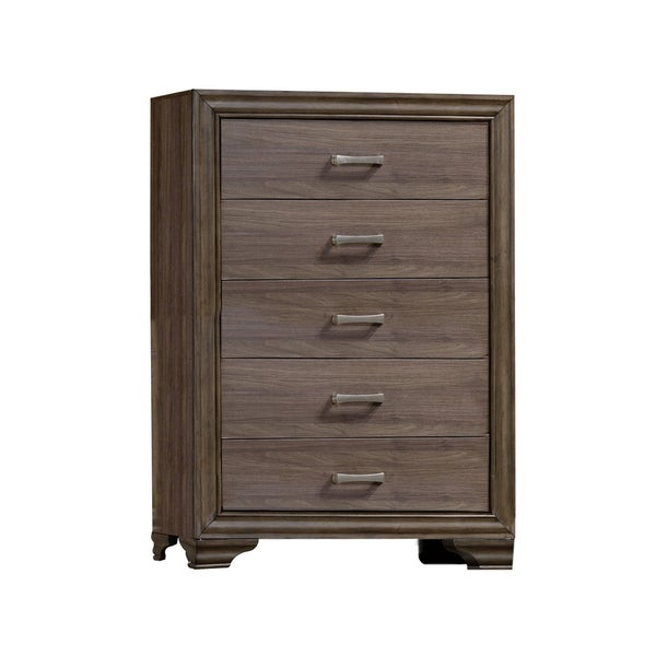 Wooden Chest With 5 Spacious Drawers and Bracket Legs, Brown