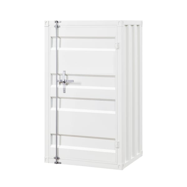 Industrial Style Metal Chest with Recessed Door Front, White
