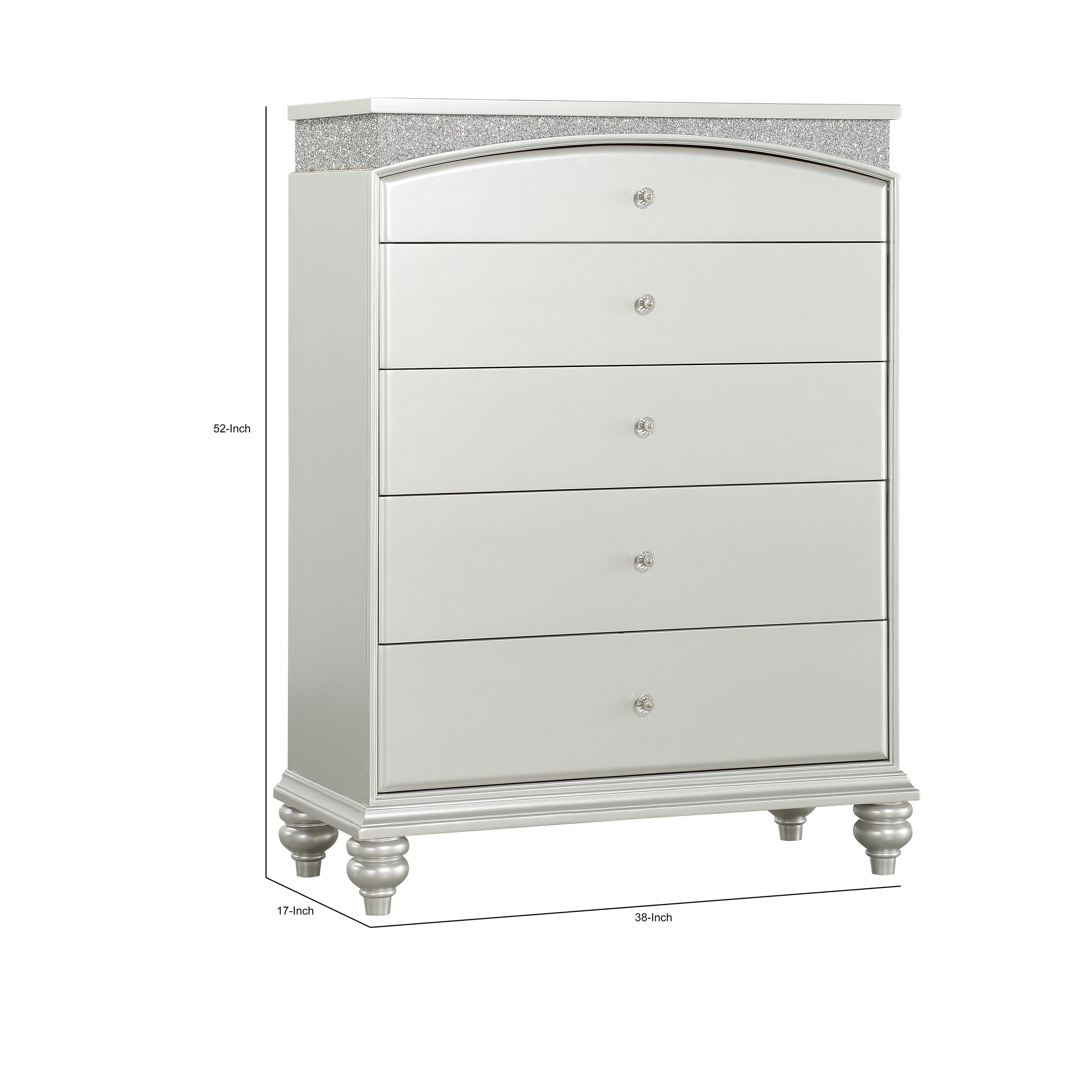 Modern Style 5 Drawer Wooden Chest With Rhinestone Inlays Silver On Sale Overstock 30388049