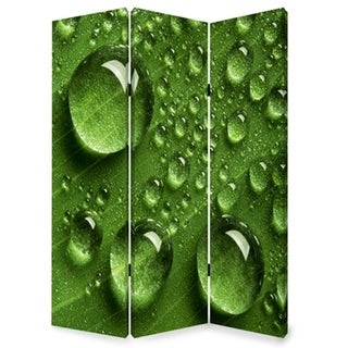 Morning Dew Print Foldable Canvas Screen with 3 Panels, Green