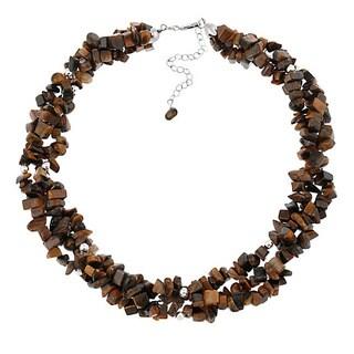 Glitzy Rocks Sterling Silver 3-strand Gemstone Chip Necklace