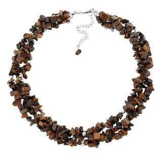 Glitzy Rocks Sterling Silver 3-strand Gemstone Chip Necklace