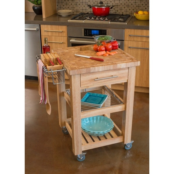 Chris & Chris 24x24-inch Natural Finish Pro Chef Kitchen Work Station (As Is Item)