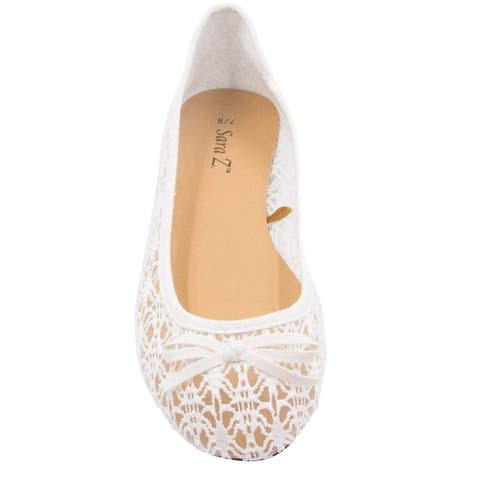 Sara Z Womens Mesh & Lace Openwork Crochet Slip on Ballet Flat Shoes