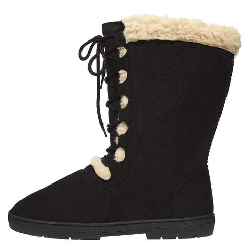 Chatties Women's Winter Boots with Lace Up Front and Fur Trim Casual Mid - Calf Shoes Size - 1