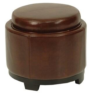 Safavieh Round Brown Cordovan Ottoman with Storage Tray