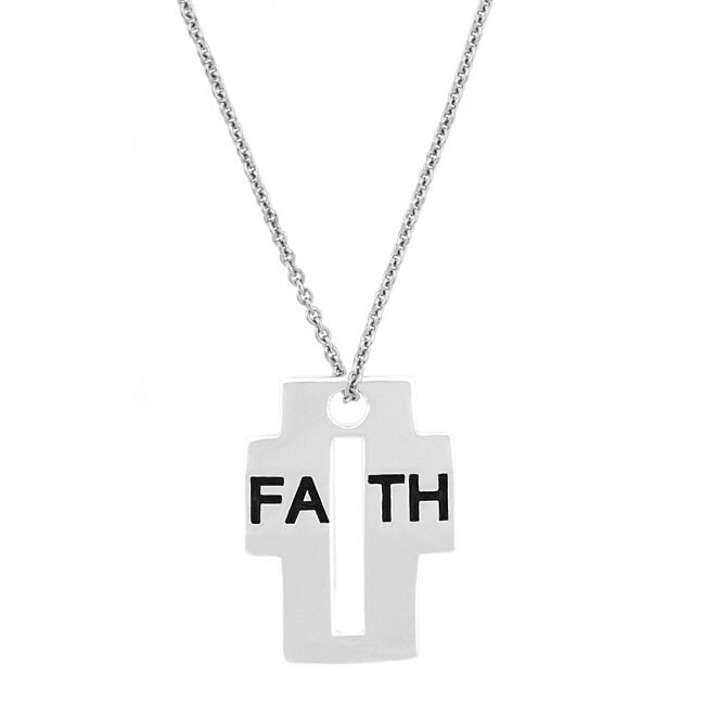 Mondevio Sterling Silver 'Faith' Cross Pendant