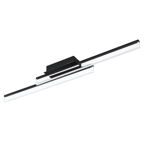 Eglo Palmital 1 LED Ceiling Light w/ Matte Black Finish and Satin Shade
