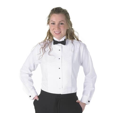 Henry Siegel Women's Tuxedo Shirt Poly/Cotton 1/4 Pleat Wing Collar with Adjustable Black Bowtie