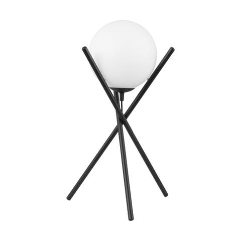 Eglo Salvezinas Table Lamp w/ Black Finish & Opal Glass Shade