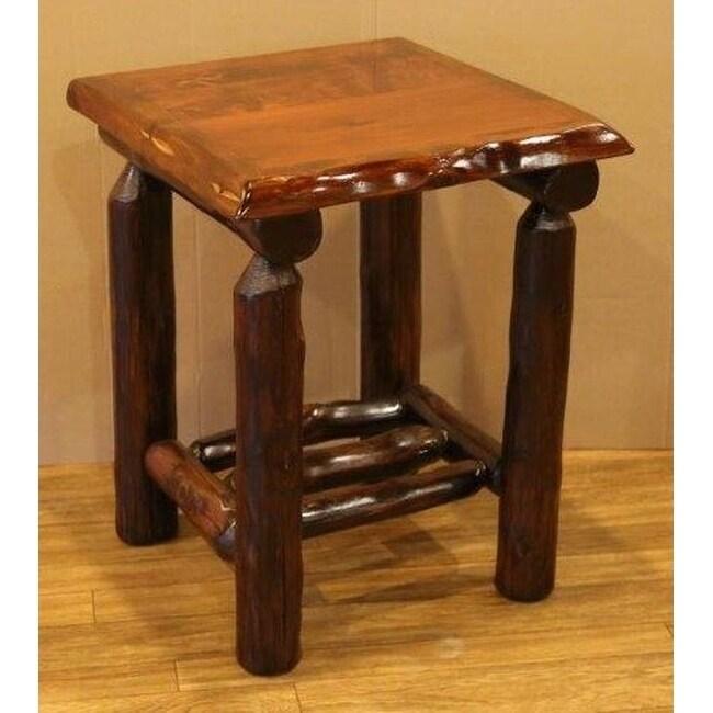 Red Cedar Log Open Nightstand