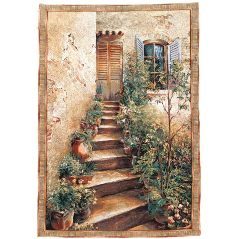 """Pasargad DC French Floral Wall Hanging Tapestry - 4'5"""" x 6'5"""""""
